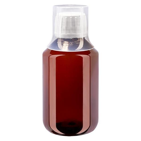 100ml PET Medizinflasche - Schraubverschluss OV weiss - Dosierbecher 30ml natur