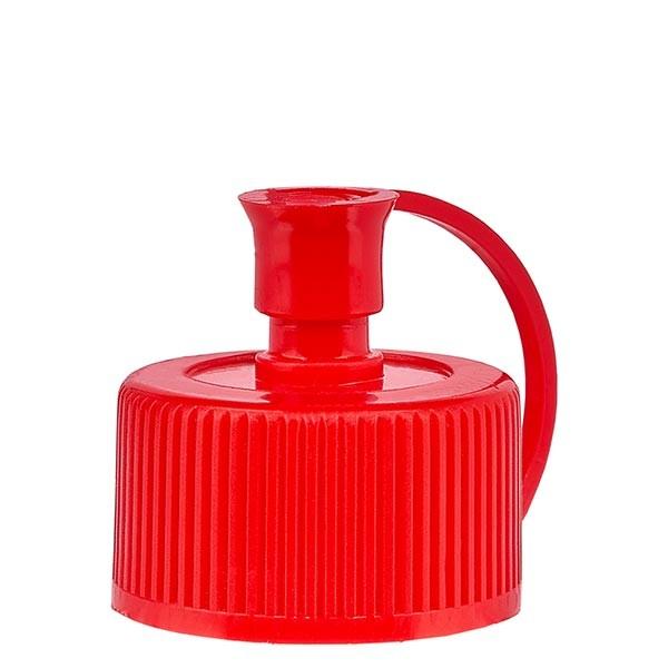 Spritzverschluss 25mm mit Kappe und Halterung rot PE Standard
