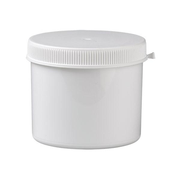 Kunststoff Dose mit weissem Press-on Schraubverschlus 600 ml aus PP weiß
