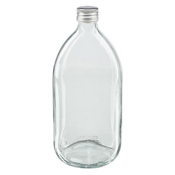1000ml Euro-Medizinflasche klar mit silbernem Aluminiumverschluss ohne Rollrand