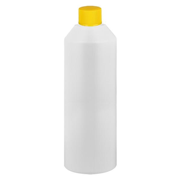 Zylinderflasche HDPE 250ml weiss, S20x3 mit gelbem SV