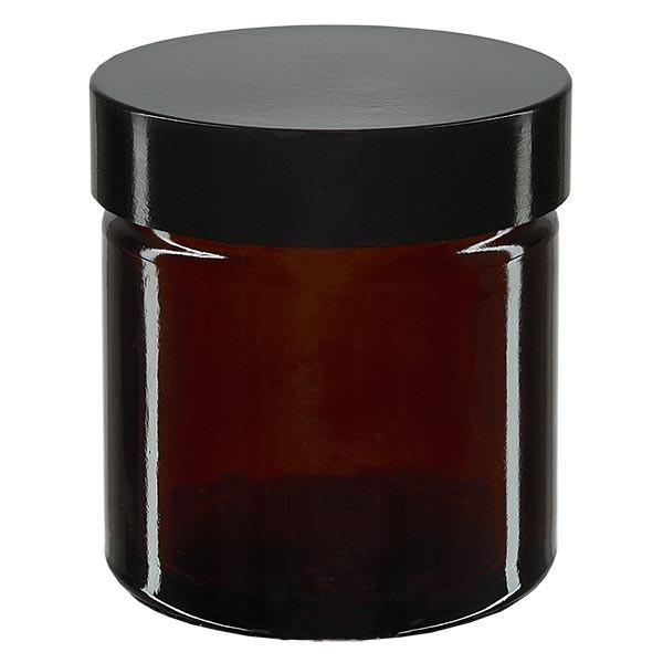 Glastiegel 60ml braun, mit schwarz. Bakelit Deckel