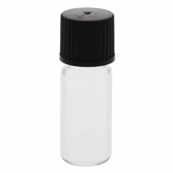 Gewindeflaschen klar 1,5 - 2 ml, 11,6 x 32mm inkl. Verschluss 136 schwarz mit Innenkonus