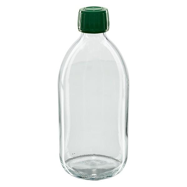 500ml Euro-Medizinflasche klar mit grünem Schraubverschluss OV
