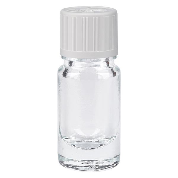 Apothekenflasche klar 5ml Schraubverschluss weiss KiSi Standard