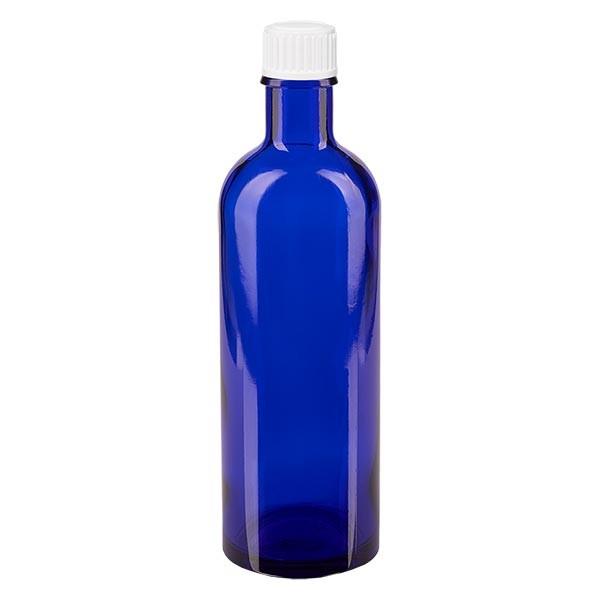 Apothekenfl. blau 200ml Schraubv. weiss St