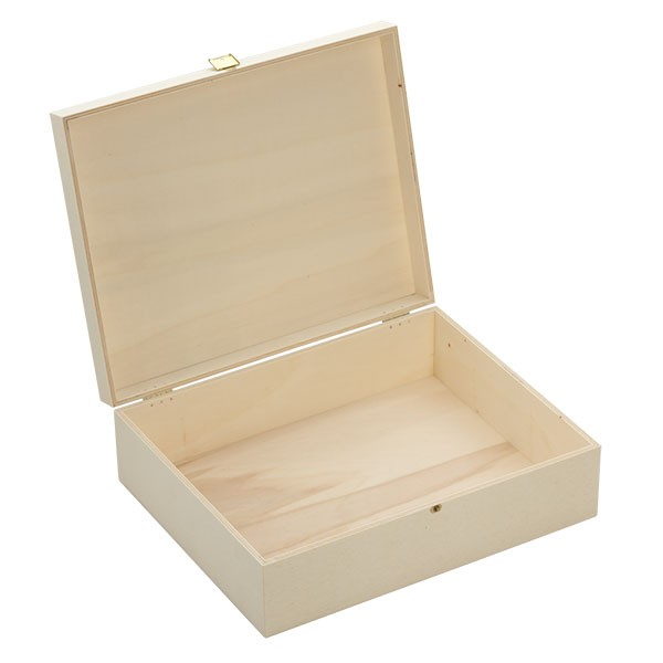 Holzbox mit Klappdeckel 35x28x11cm offen