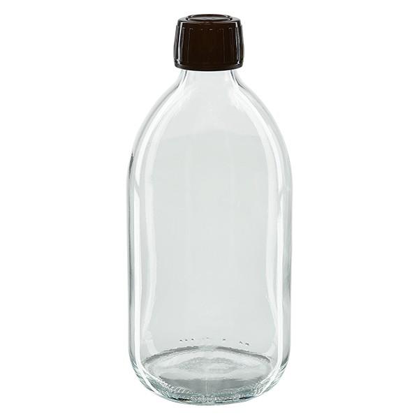 500ml Euro-Medizinflasche klar mit braunem Schraubverschluss OV