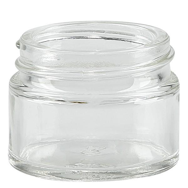 Salbenglas (Glastiegel) 15 ml klar, ohne Deckel, Gewinde 38mm/R3