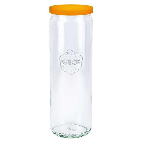 600ml Zylinderglas WECK RR60 mit Silikond. orange