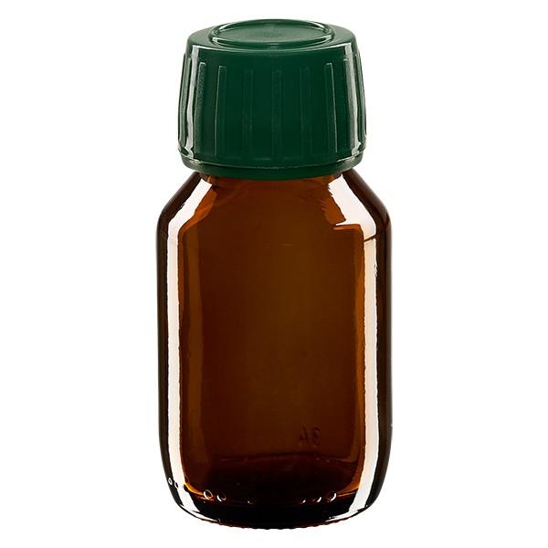 50ml Euro-Medizinflasche braun mit grünem Schraubverschluss OV