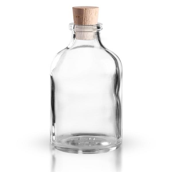 Injektionsflasche Klarglas 50ml mit Korken 11/14mm