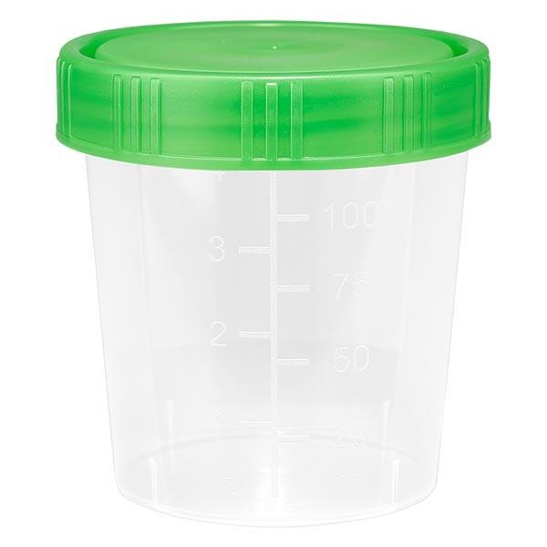 Urinbecher natur 125ml mit grünem Schraubdeckel
