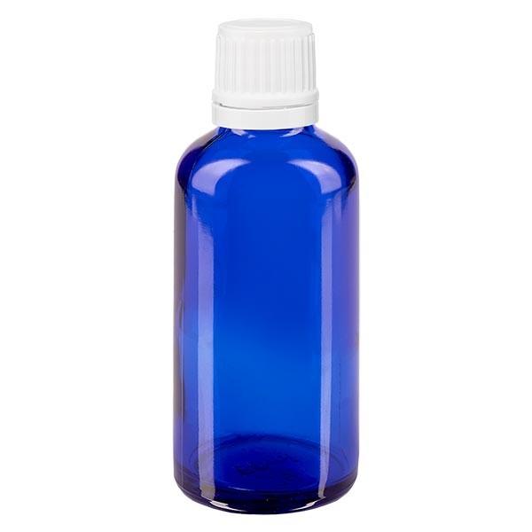 Apothekenfl. blau 50ml Tropfv. 1.2mm weiss OV