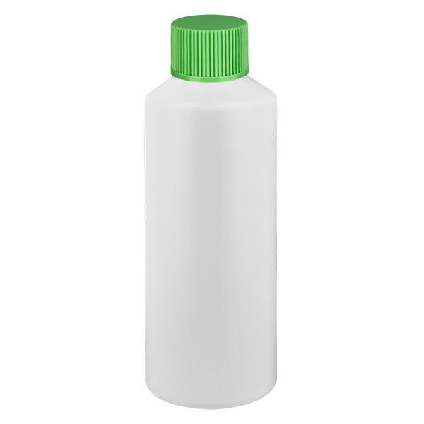 PET Zylinderflasche 75ml weiss, S20x3 mit grünem SV