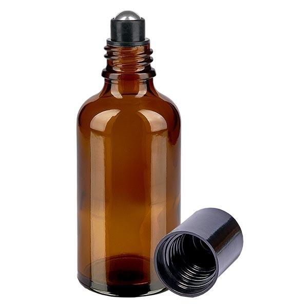 Glas Deostick Flasche braun 50ml, leerer Deo Roller (Roll On)