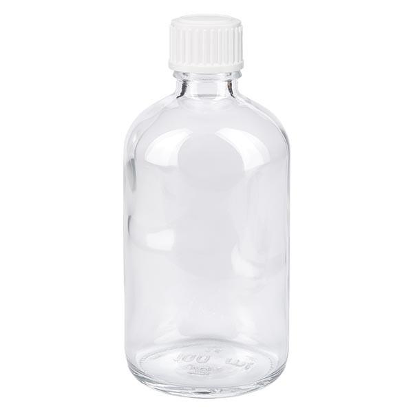 Apothekenflasche klar 100ml Schraubverschluss weiss Standard