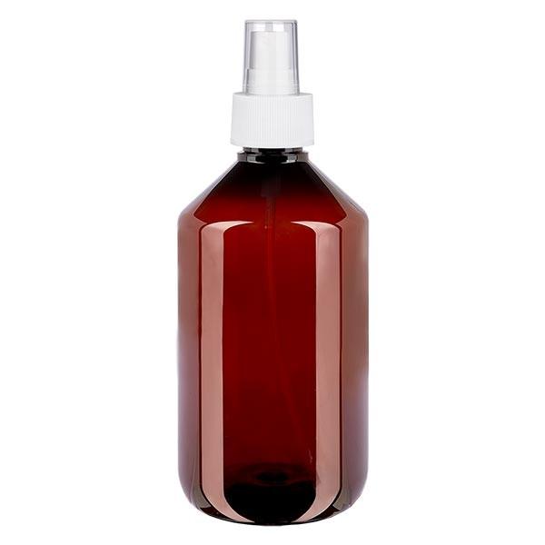 500 ml PET Medizinflasche mit Zerstäuber weiß GCMI 28/410 inkl. Kappe transparent, Standard