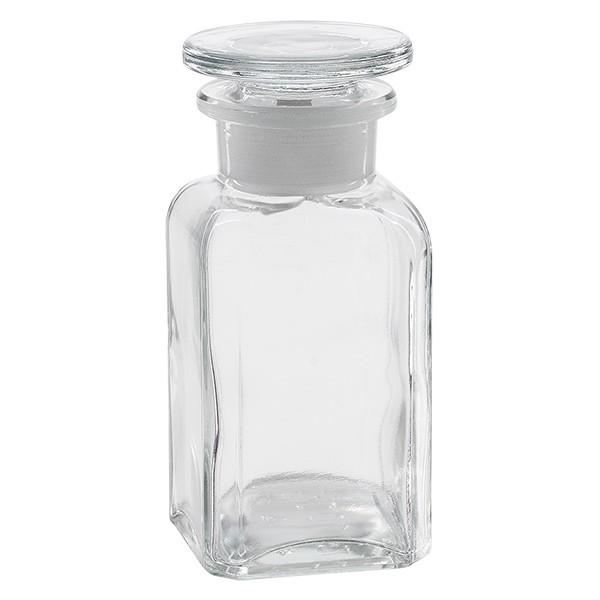 Vierkant-Apothekerflasche 100 ml Weithals KIarglas inkl. Glasstopfen