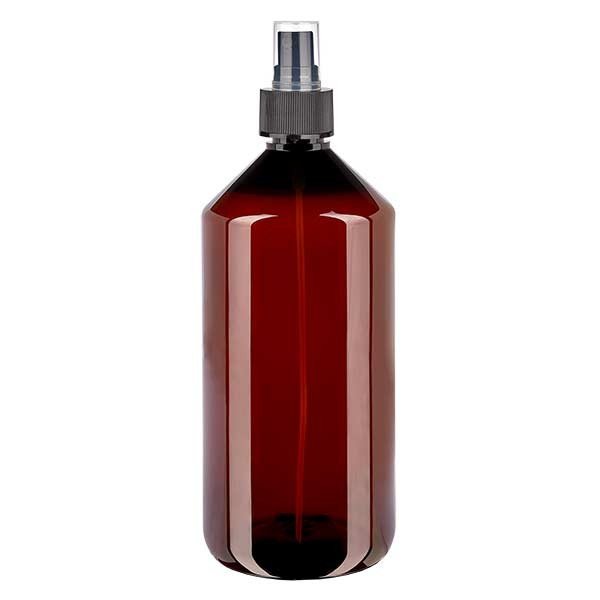 1000 ml PET Medizinflasche mit Zerstäuber schwarz GCMI 28/410 inkl. Kappe transparent, Standard