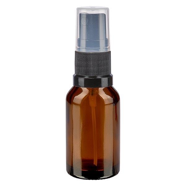 Braunglasflasche 15ml mit Pumpzerstäuber schwarz
