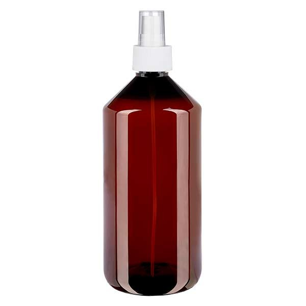 1000 ml PET Medizinflasche mit Zerstäuber weiß GCMI 28/410 inkl. Kappe transparent, Standard