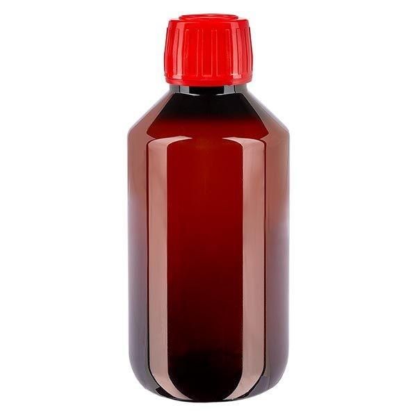 PET Medizinflasche 200ml braun (Veralflasche) PP28, mit rotem OV