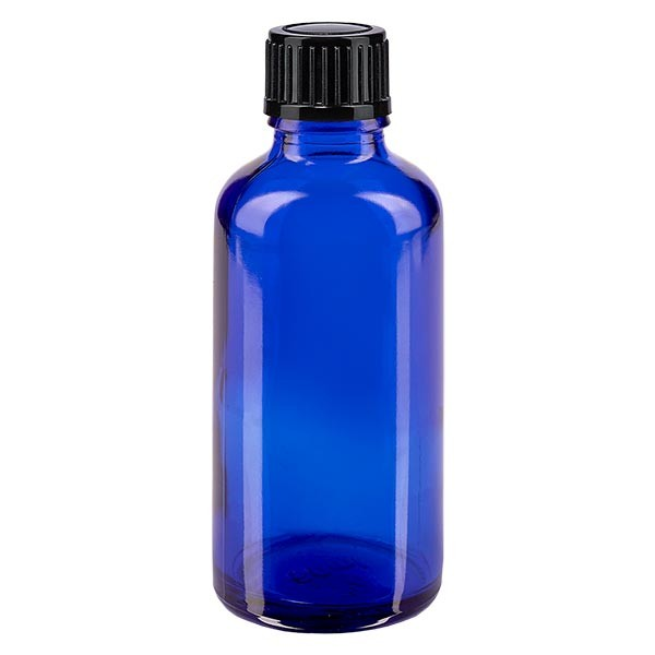 Apothekenfl. blau 50ml Tropfv. 1mm schwarz St