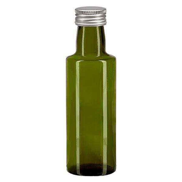 100ml Ölflasche rund Olivgrün inkl. Alu Schraubverschluss Silber (PP 24mm)
