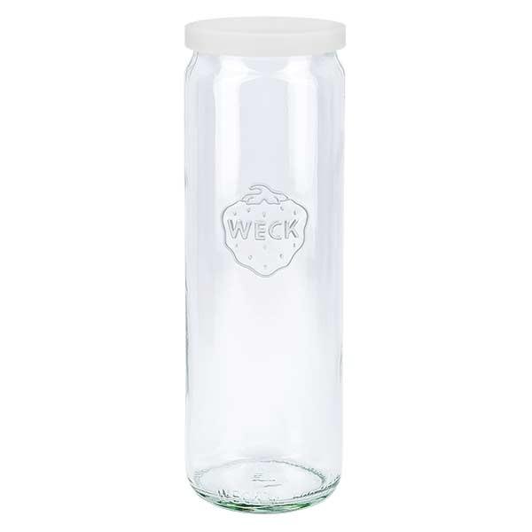 600ml Zylinderglas WECK RR60 mit Silikond. weiss