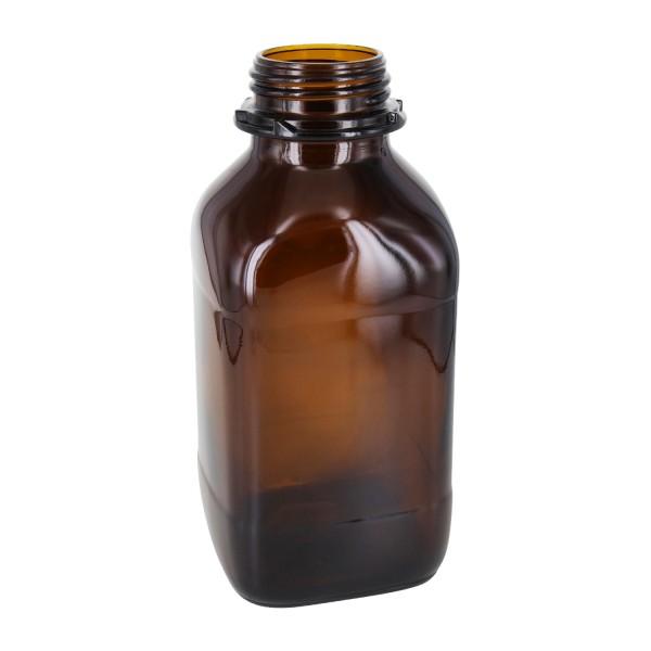 1000 ml quadratische Weithalsflasche (Chemikalienflasche) Braunglas mit DIN54 (Raster Kranz) Mündung