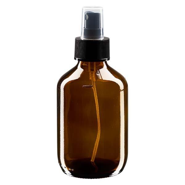 200 ml Euro-Medizinflasche braun mit schwarzem Zerstäuber inkl. transparenter Kappe