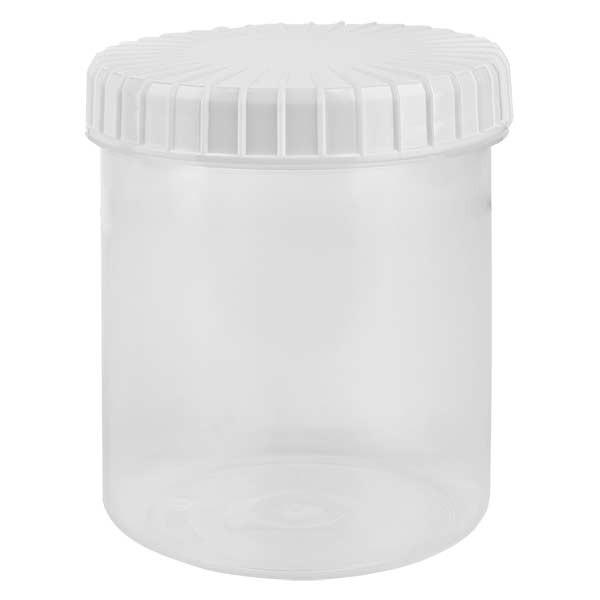 Kunststoffdose 180ml transparent mit gerilltem weissen Schraubdeckel aus PE, Verschlussart Standard