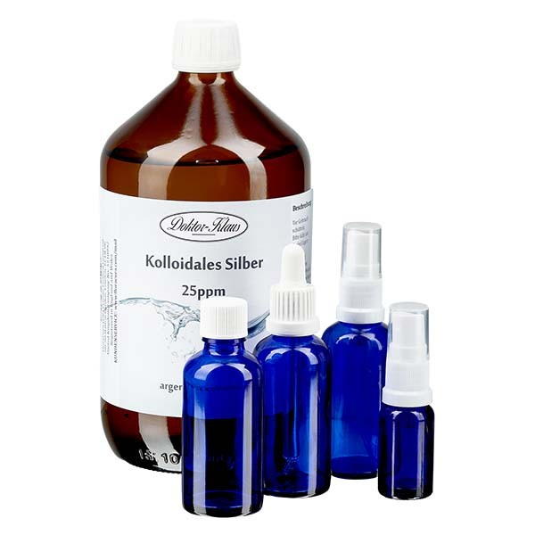 Profiset Kolloidales Silber Doktor-Klaus, 25ppm, 1000ml KS, je 50ml Blauglasflasche OV, Spray, Pipe