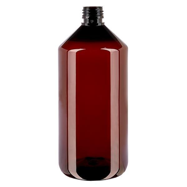 PET Medizinflasche 1000ml braun PP28, o. Verschl.