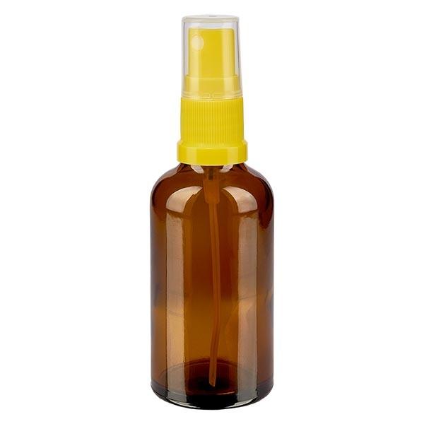 Braunglasflasche 50ml mit Pumpzerstäuber gelb
