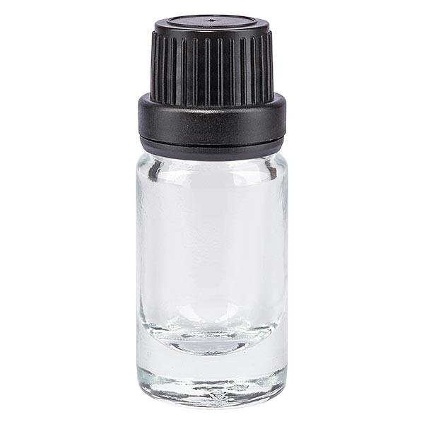 Apothekenflaschen klar 5ml Schraubverschluss schwarz Dicht OV