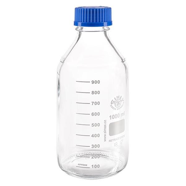1000 ml Laborgewindeflasche + blauer Kappe + Ring