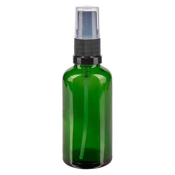 Grünglasflasche 50ml mit Pumpzerstäuber schwarz