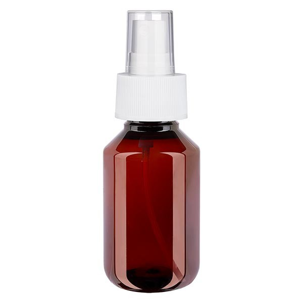 100 ml PET Medizinflasche mit Zerstäuber weiß GCMI 28/410 inkl. Kappe transparent, Standard