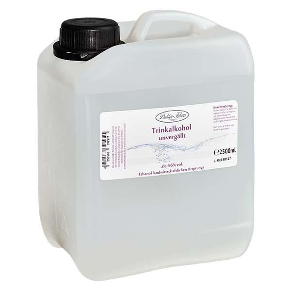 2500ml Primasprit 96% vol. Alc. in transparentem PE-HD Kanister (Weingeist Trinkalkohol)