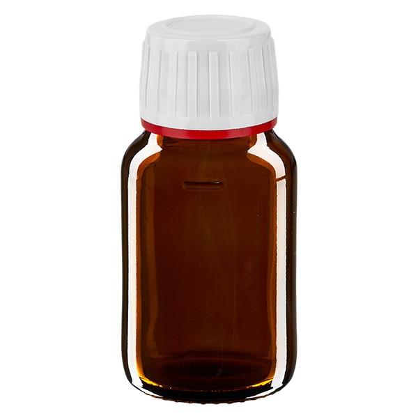 30ml Euro-Medizinflasche braun mit weissem Verschluss