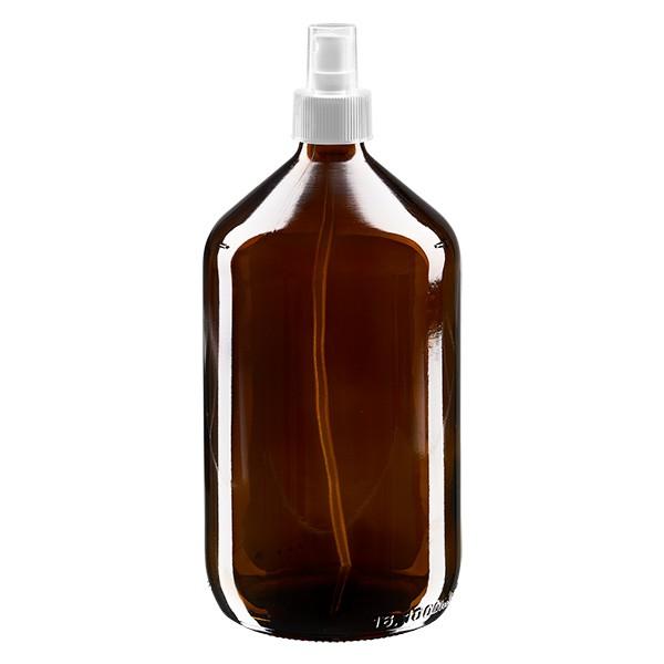 1000 ml Euro-Medizinflasche braun mit weissem Zerstäuber inkl. transparenter Kappe