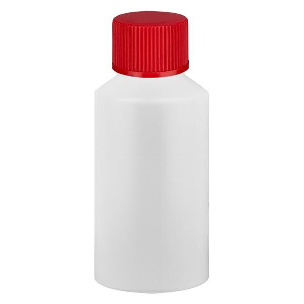 PET Zylinderflasche 50ml weiss, S20x3 mit rotem SV