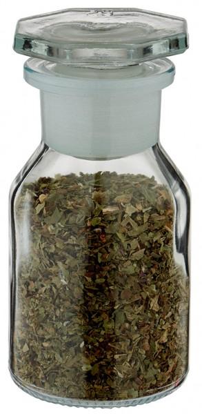 Gewürzglas Idee: 50 ml Steilbrustflasche Weithals Klarglas inkl. Glasstopfen