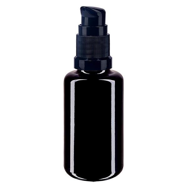 Violettglasflasche 30ml mit Pumpverschluss schwarz