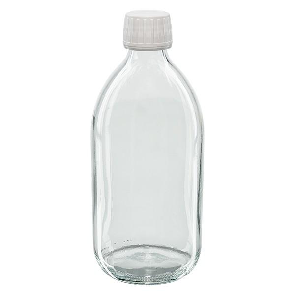500ml Euro-Medizinflasche klar mit weissem Schraubverschluss OV mit PTFE-Einlage