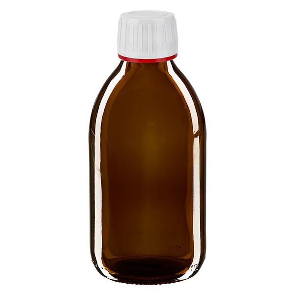 250ml Euro-Medizinflasche braun mit weissem Verschluss
