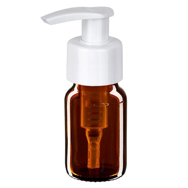30ml Euro-Medizinflasche braun mit weisser Dispenserpumpe