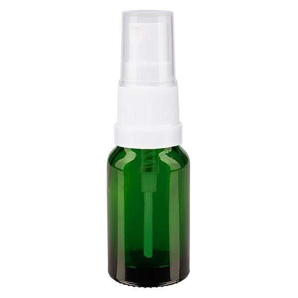 Grünglasflasche 10ml mit Pumpzerstäuber weiss